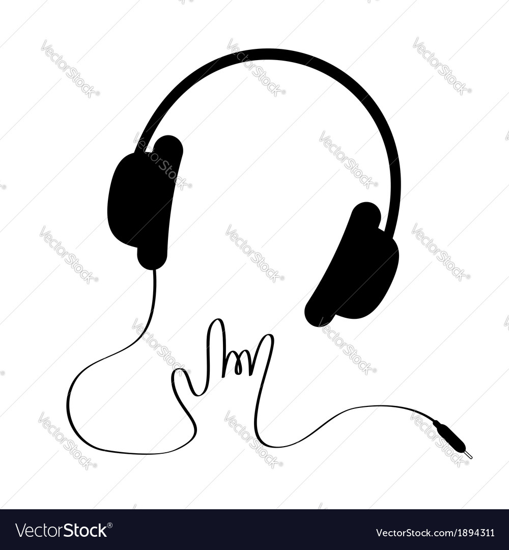 Black headphones with cord in shape of hand rock vector