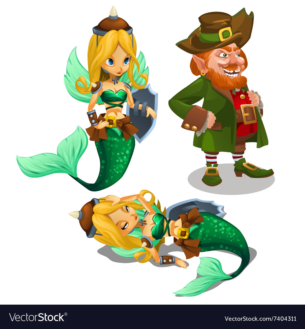 Two blonde mermaids and a man leprechaun vector