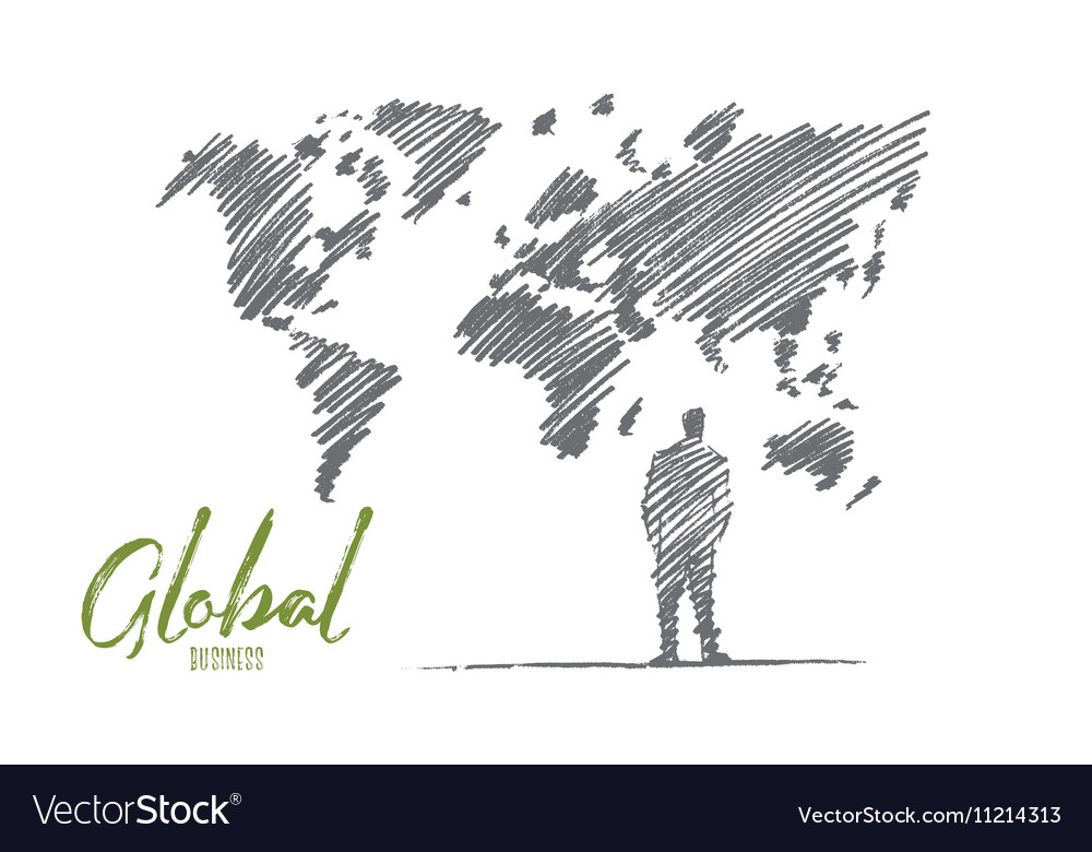 Hand drawn businessman standing at big world map vector