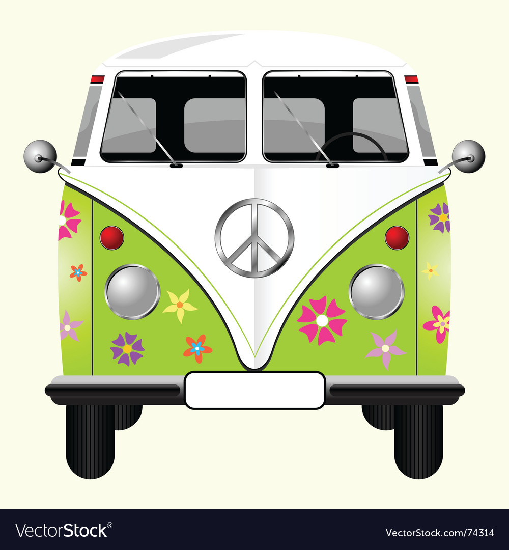 Flowered hippie van vector