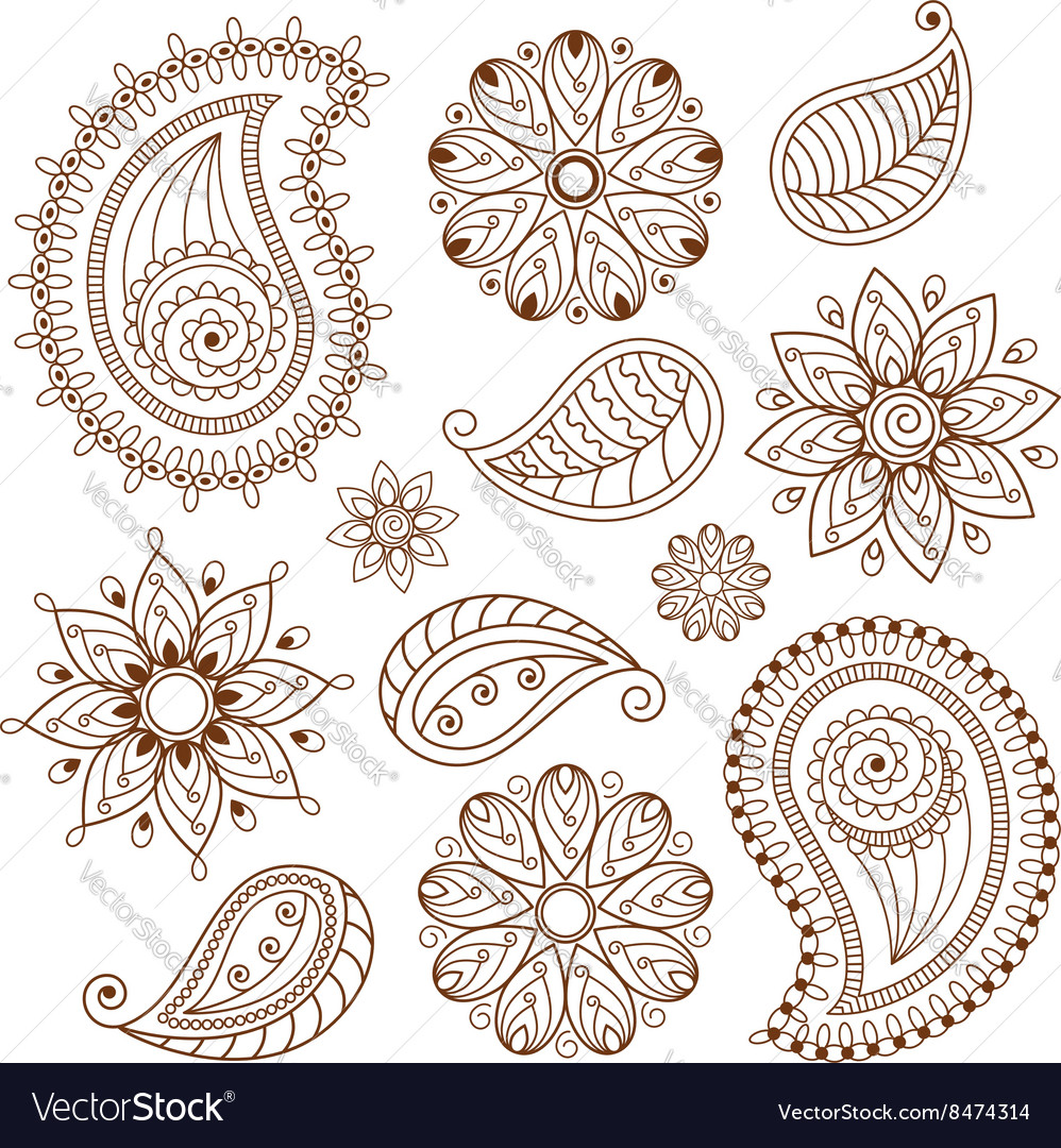 Henna tattoo mehndi doodle elements set vector