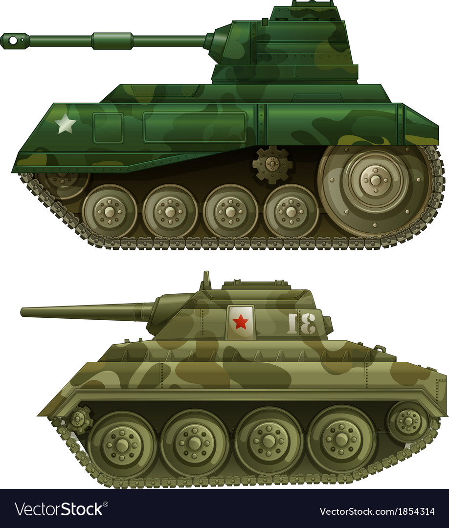 Two armoured tanks vector