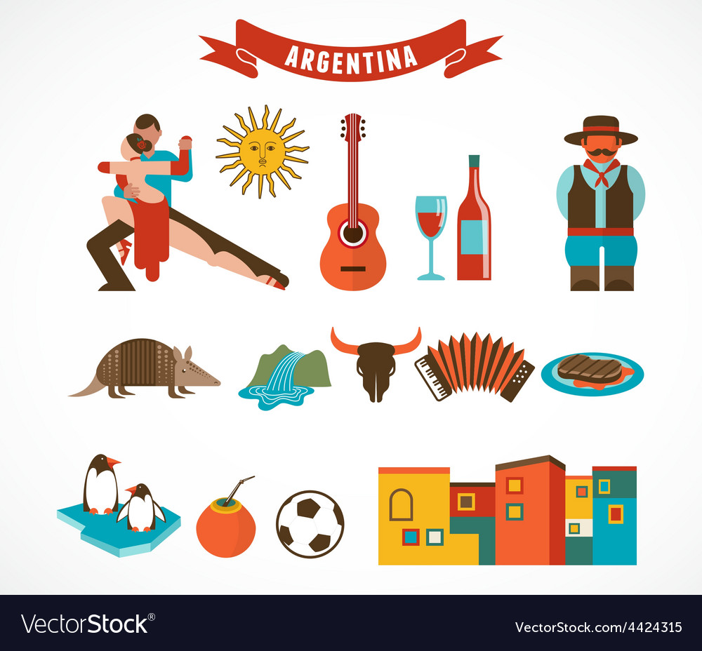 Argentina  set of icons vector