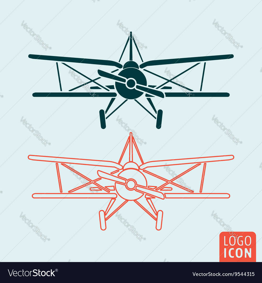 Old airplane icon vector