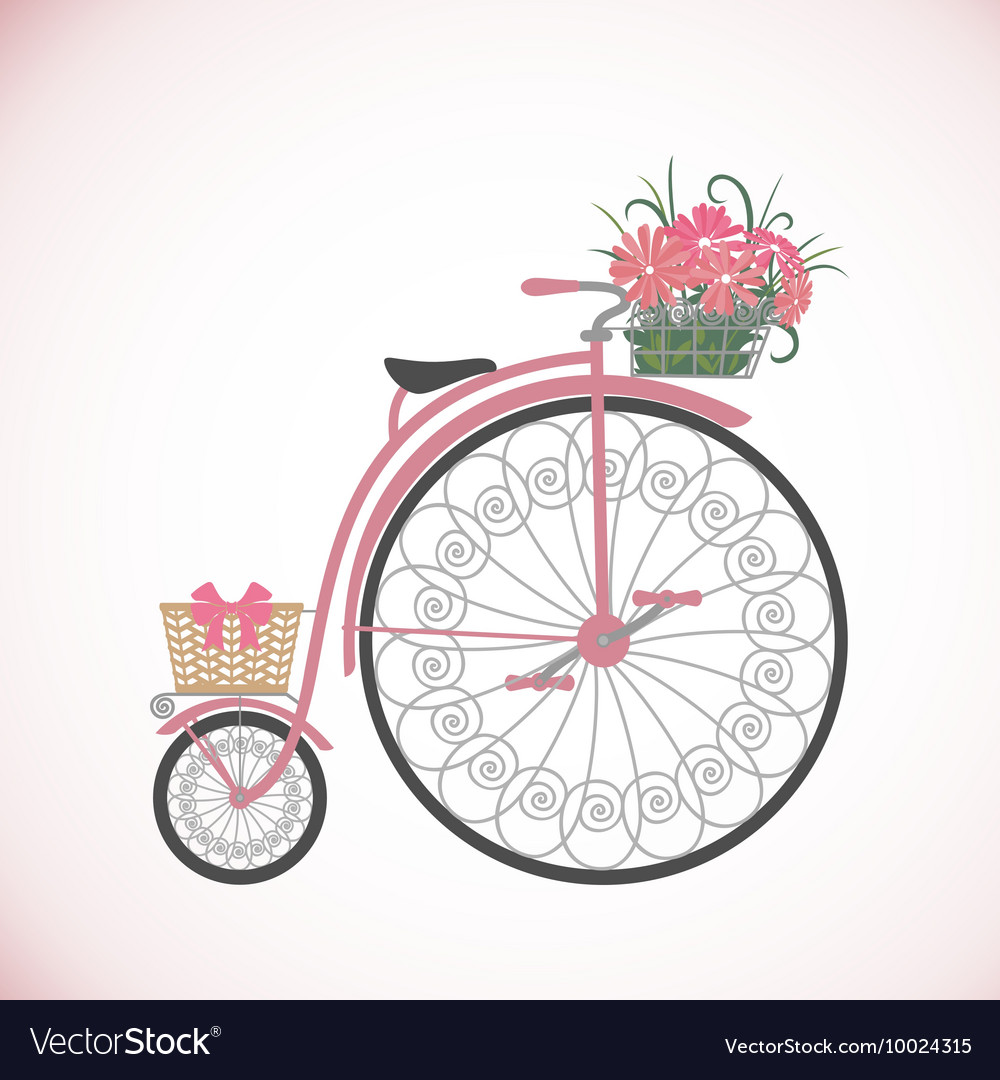 Retro bicycle in flat style with basket vector