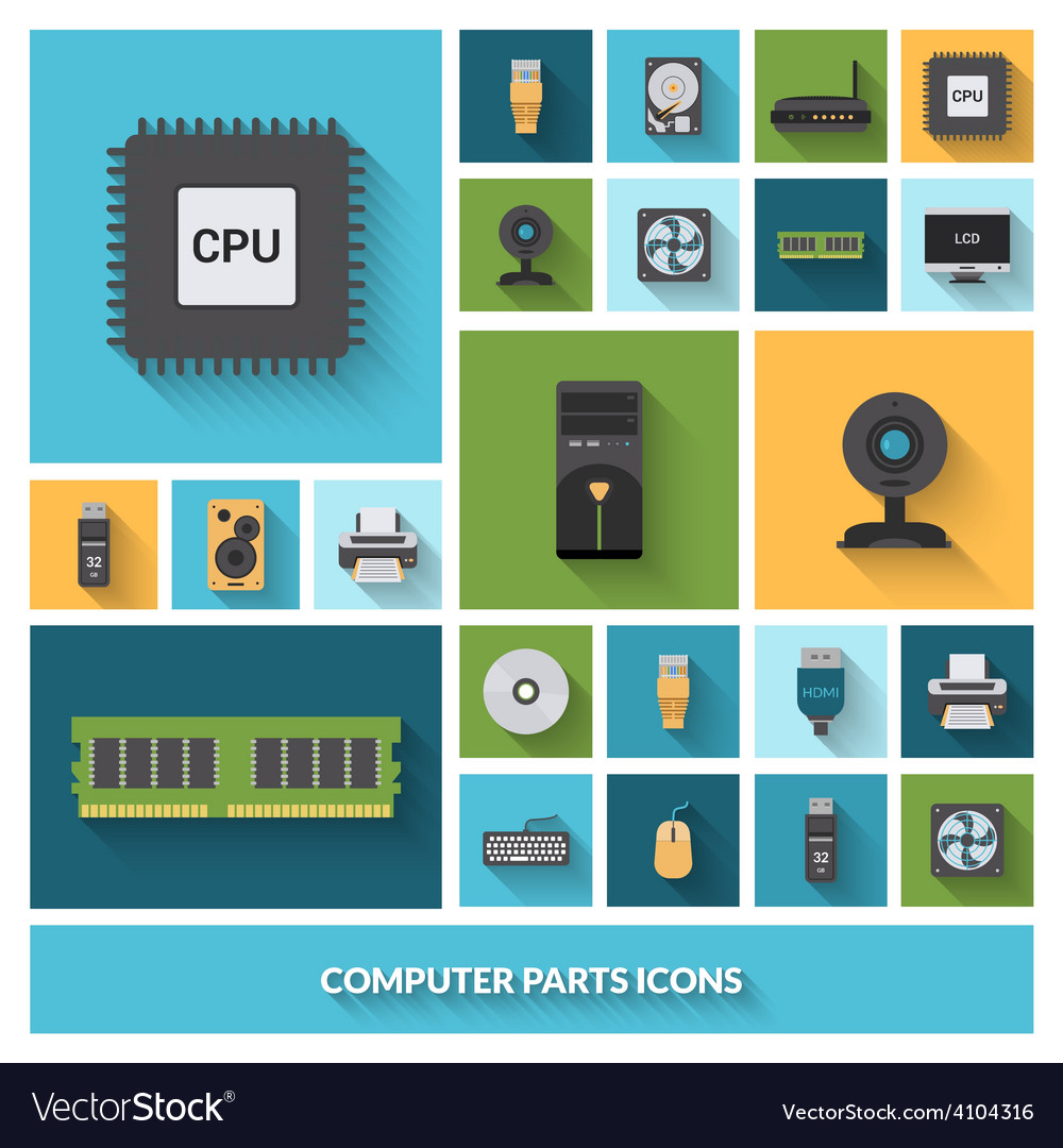 Computer parts decorative icons set vector