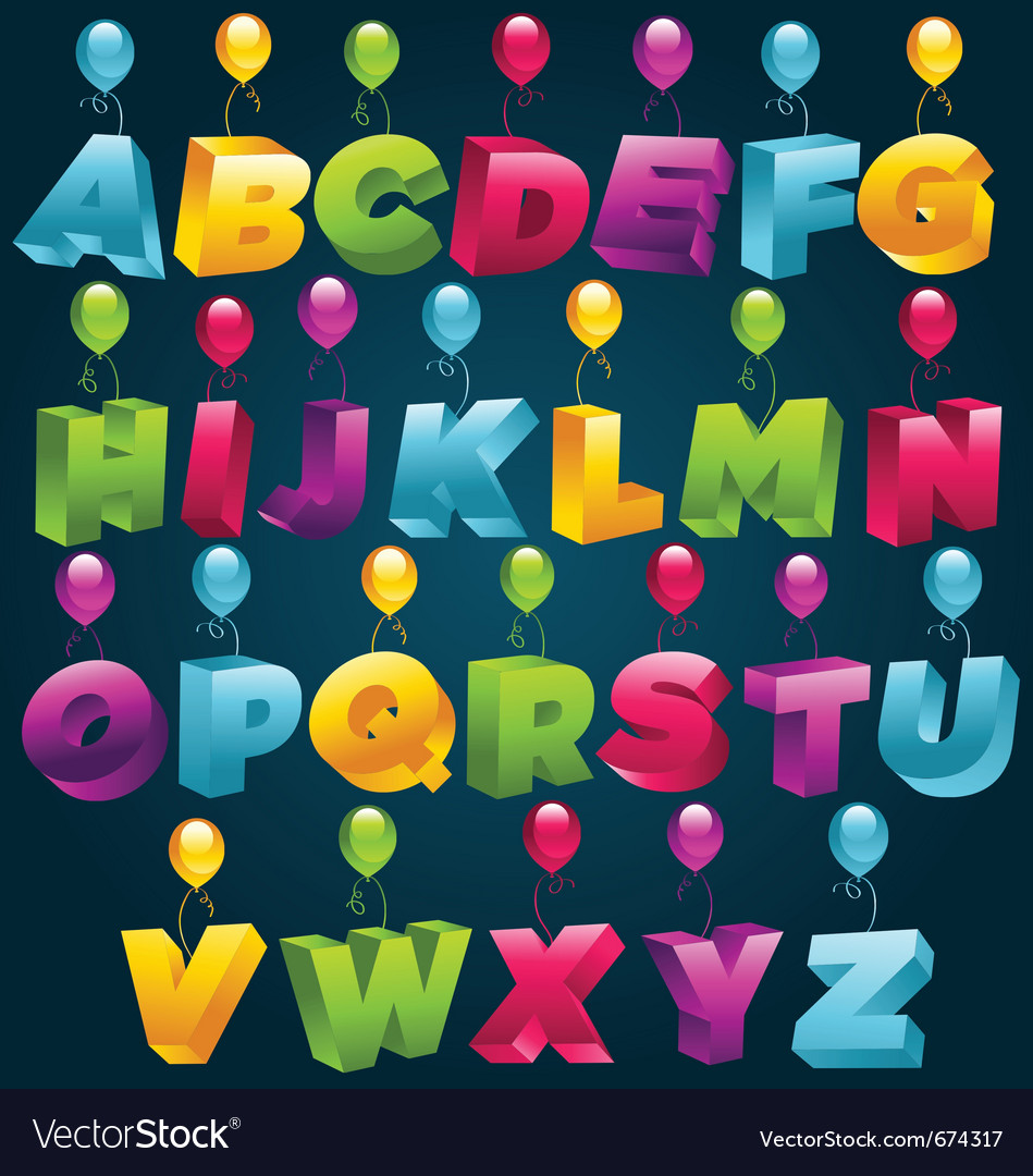3d alphabet with party balloons vector