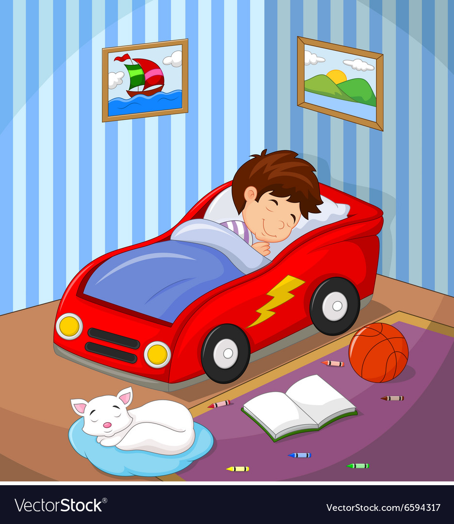 Boy was asleep in the car bed vector