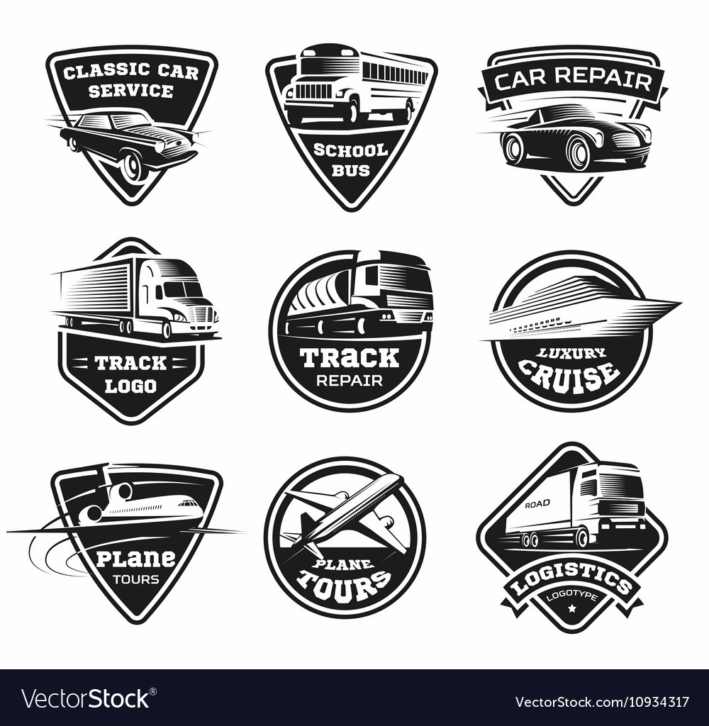 Transport modes monochrome emblem set vector