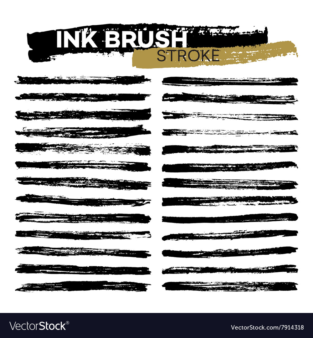 Set of different grunge ink brush strokes vector