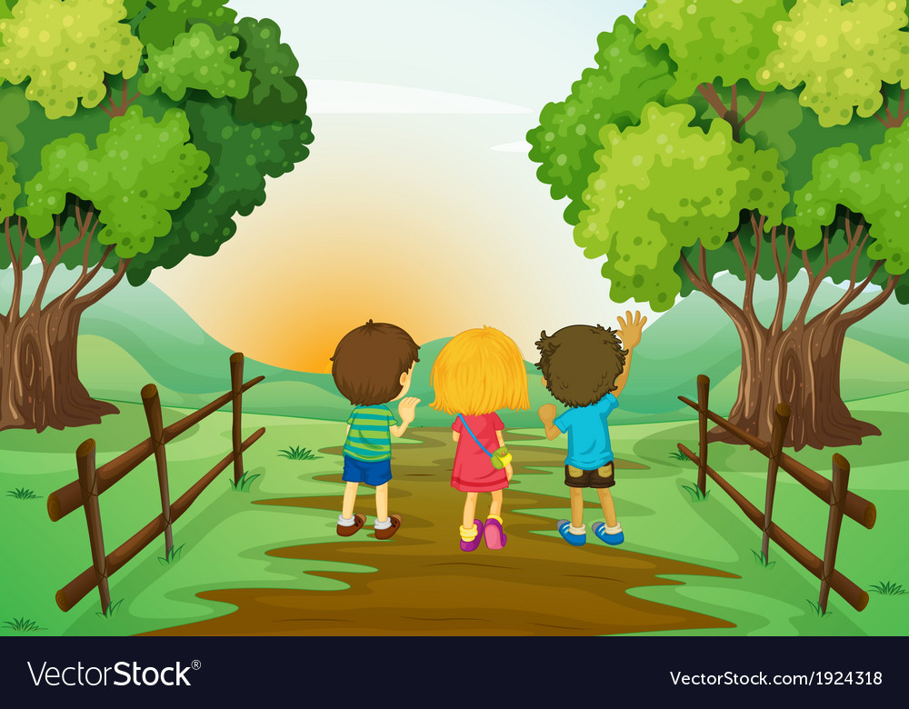 Three kids watching the sunset vector