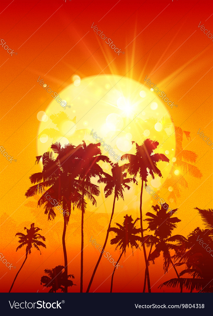 Yellow shining moon with black palm trees vector