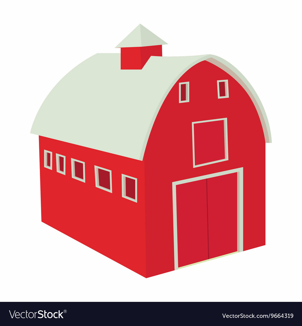 Wooden red barn icon in cartoon style vector