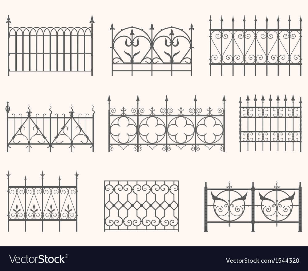 Antique fences  first set vector