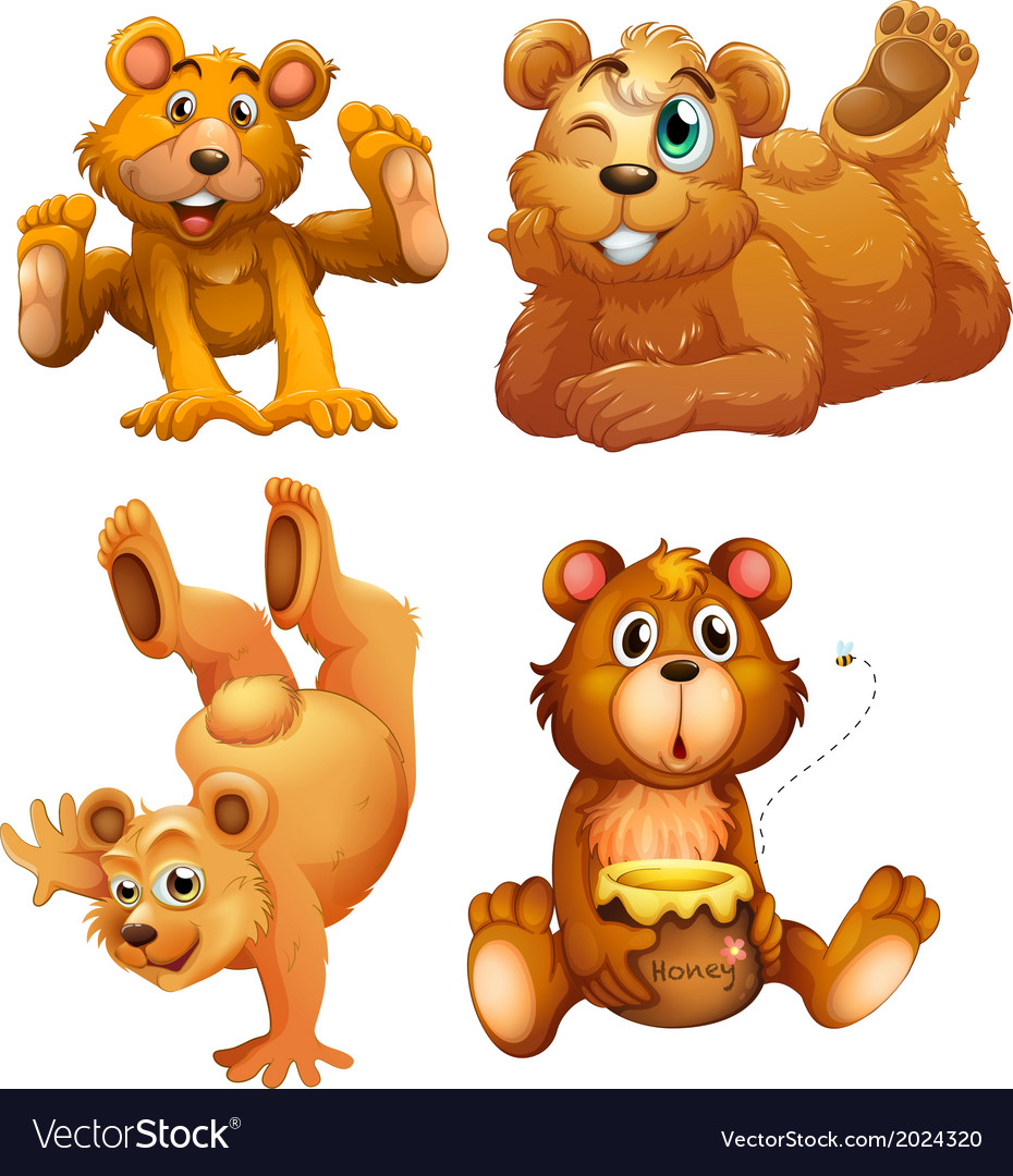 Four playful brown bears vector