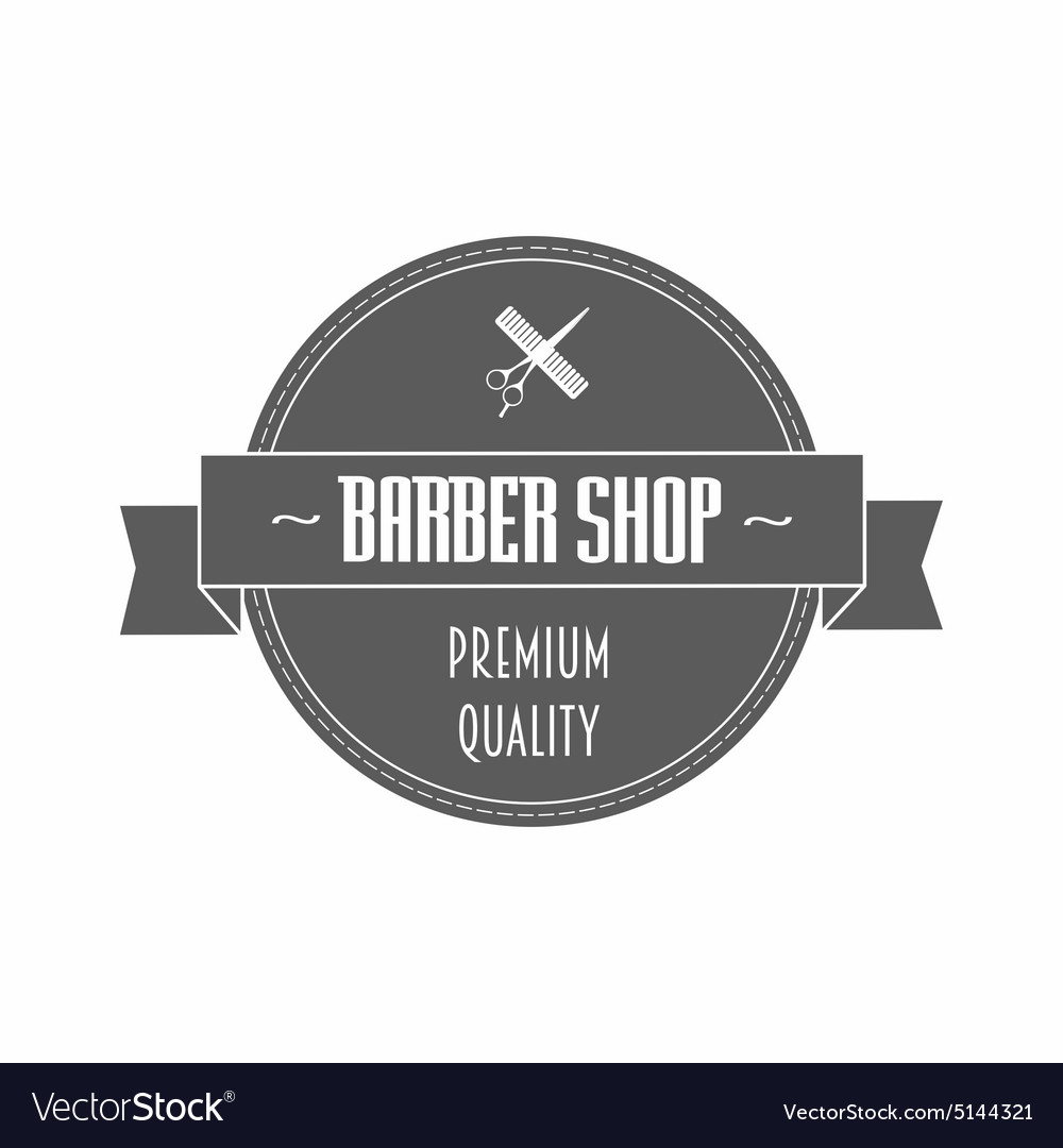 Barbershop logo in gray color vector