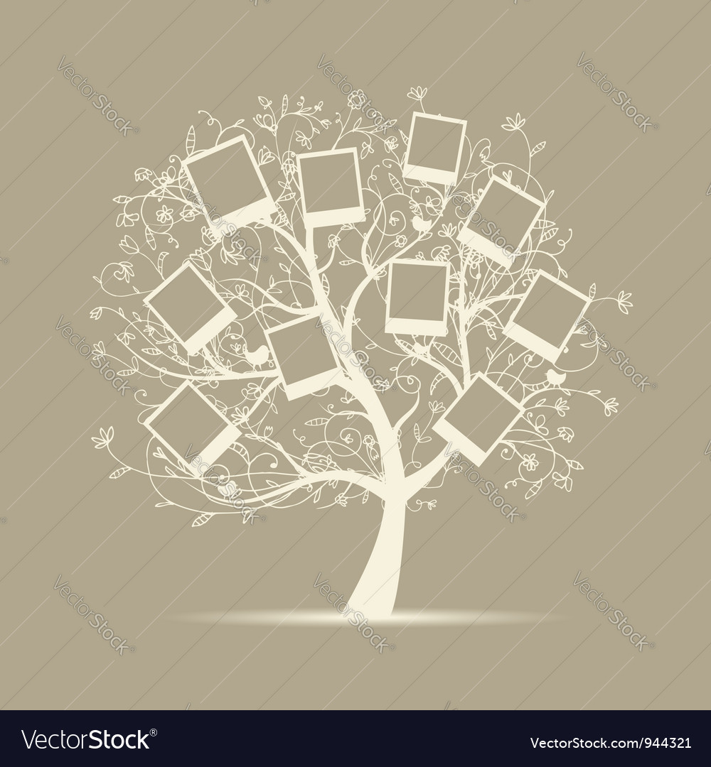 Family tree design insert your photos into frames vector
