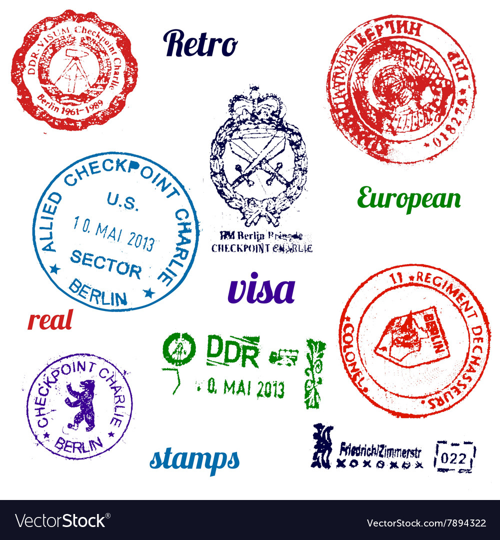 Set of real stamps from berlin wall vector
