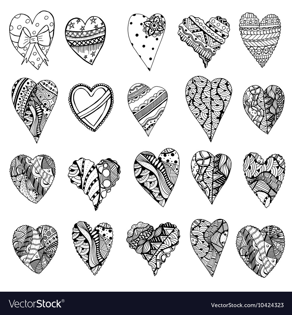 Black and white abstract love heart icon set vector