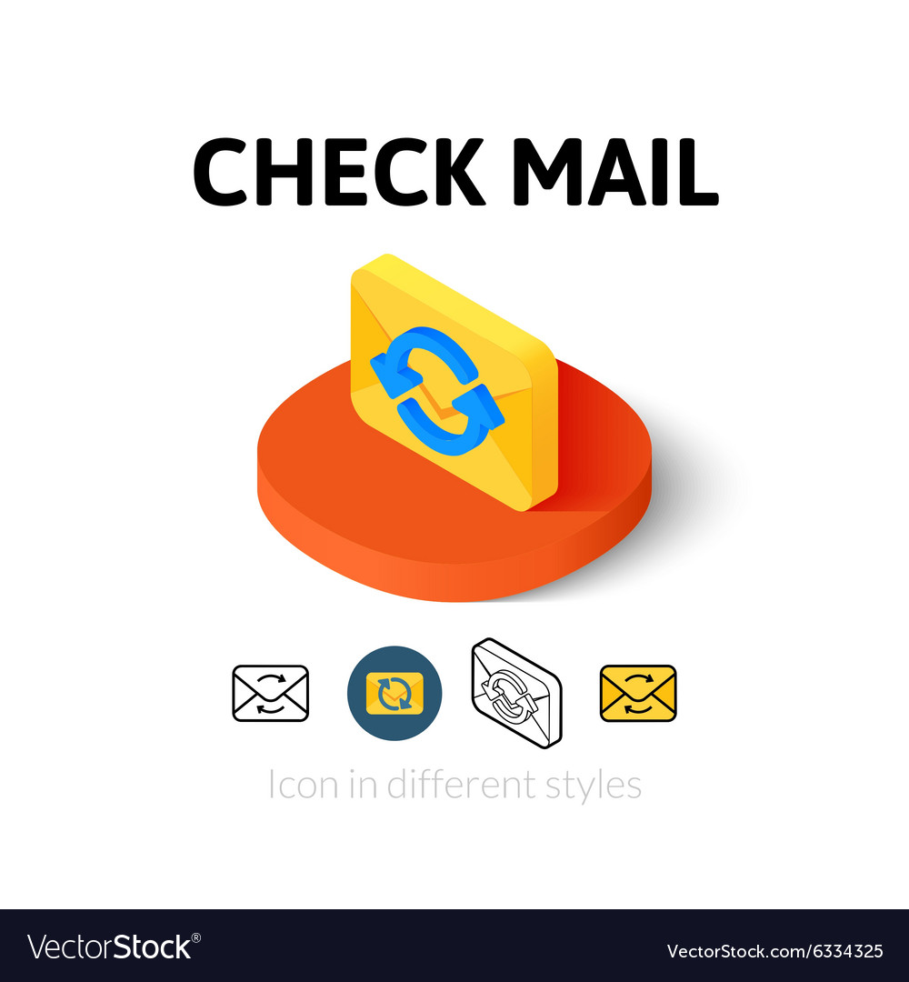 Check mail icon in different style vector