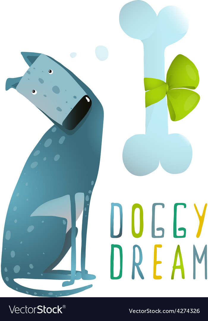 Dog sitting dreaming of bone with green ribbon vector