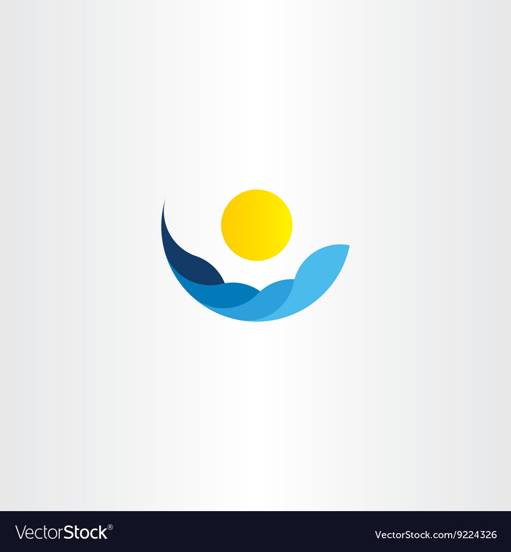 Water waves sun icon logo element sign vector