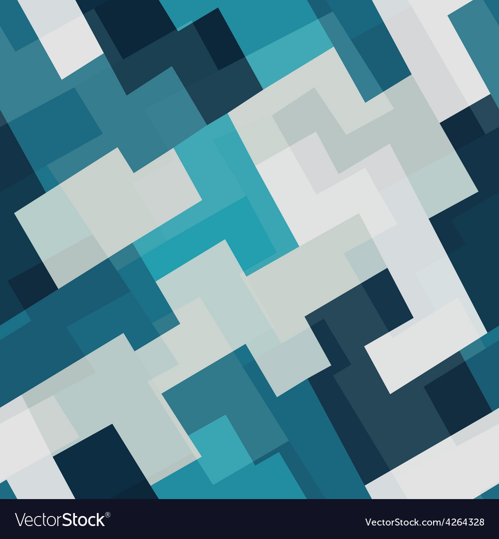 Blue tech square seamless pattern vector