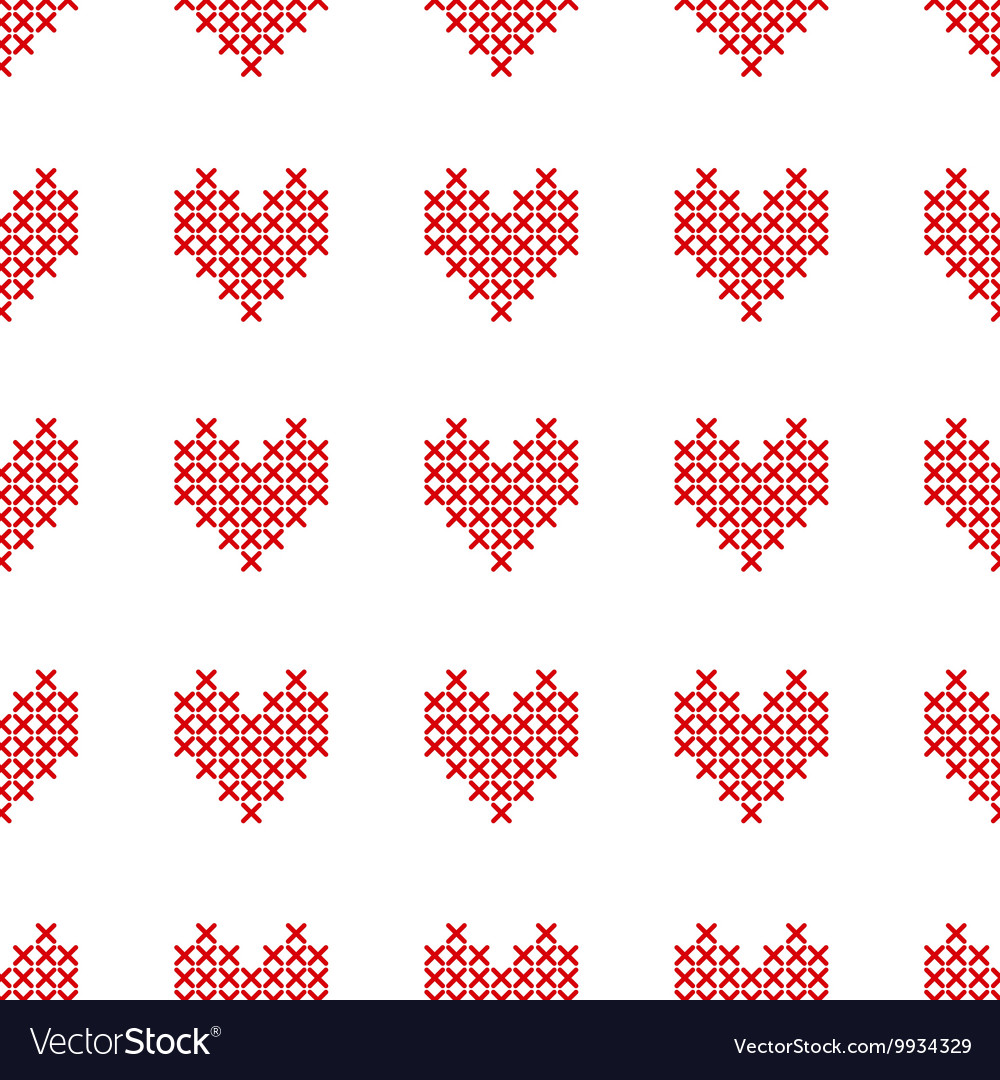 Seamless pattern with crossstitch hearts on white vector