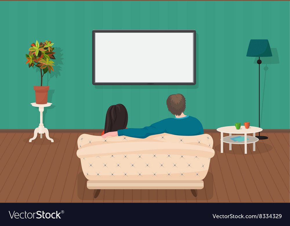 Young family man and women watching tv program vector