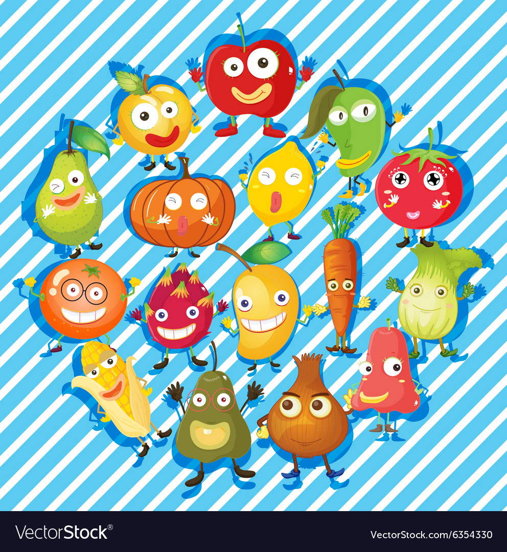 Many kind of fruits and vegetables vector