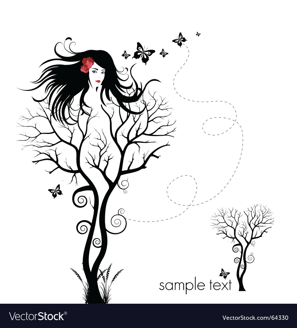 Tree woman abstract vector