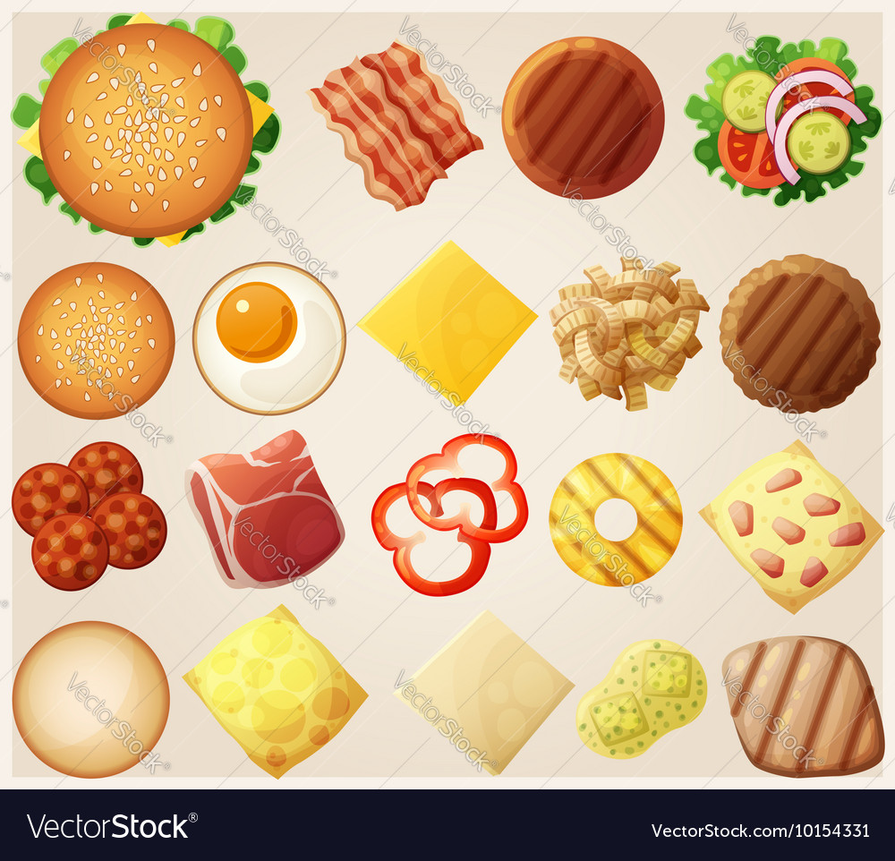Burgers set top view ingredients buns cheese vector