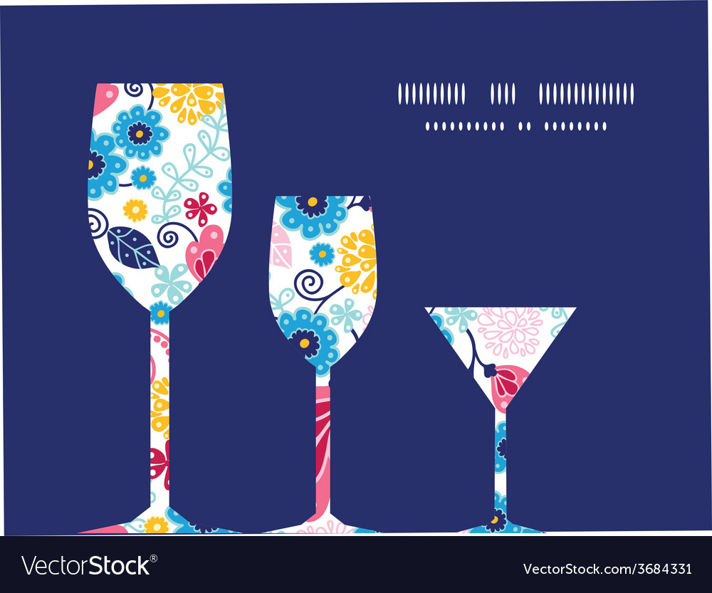 Fairytale flowers three wine glasses silhouettes vector