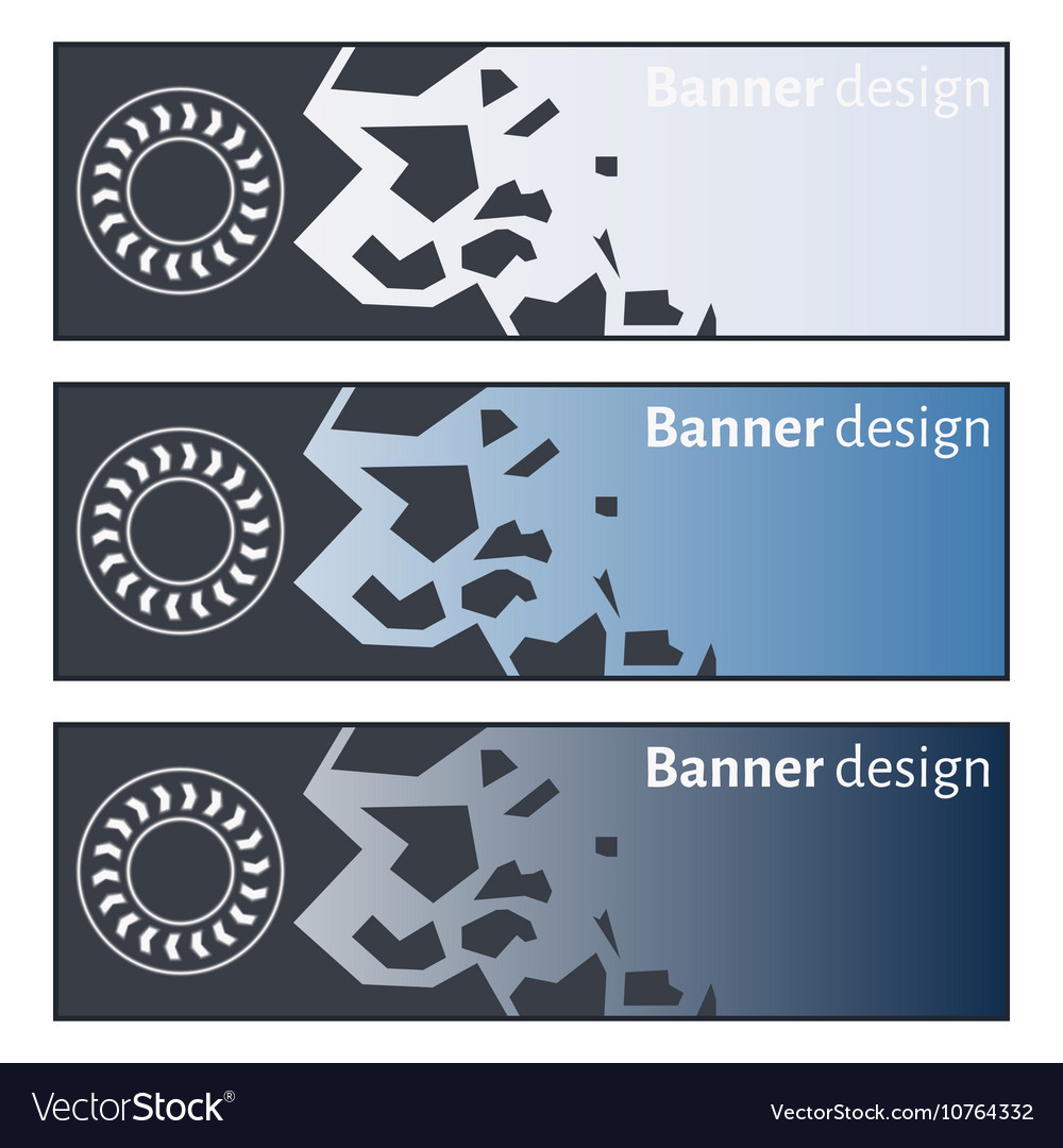 Banner design collection of three beautiful vector