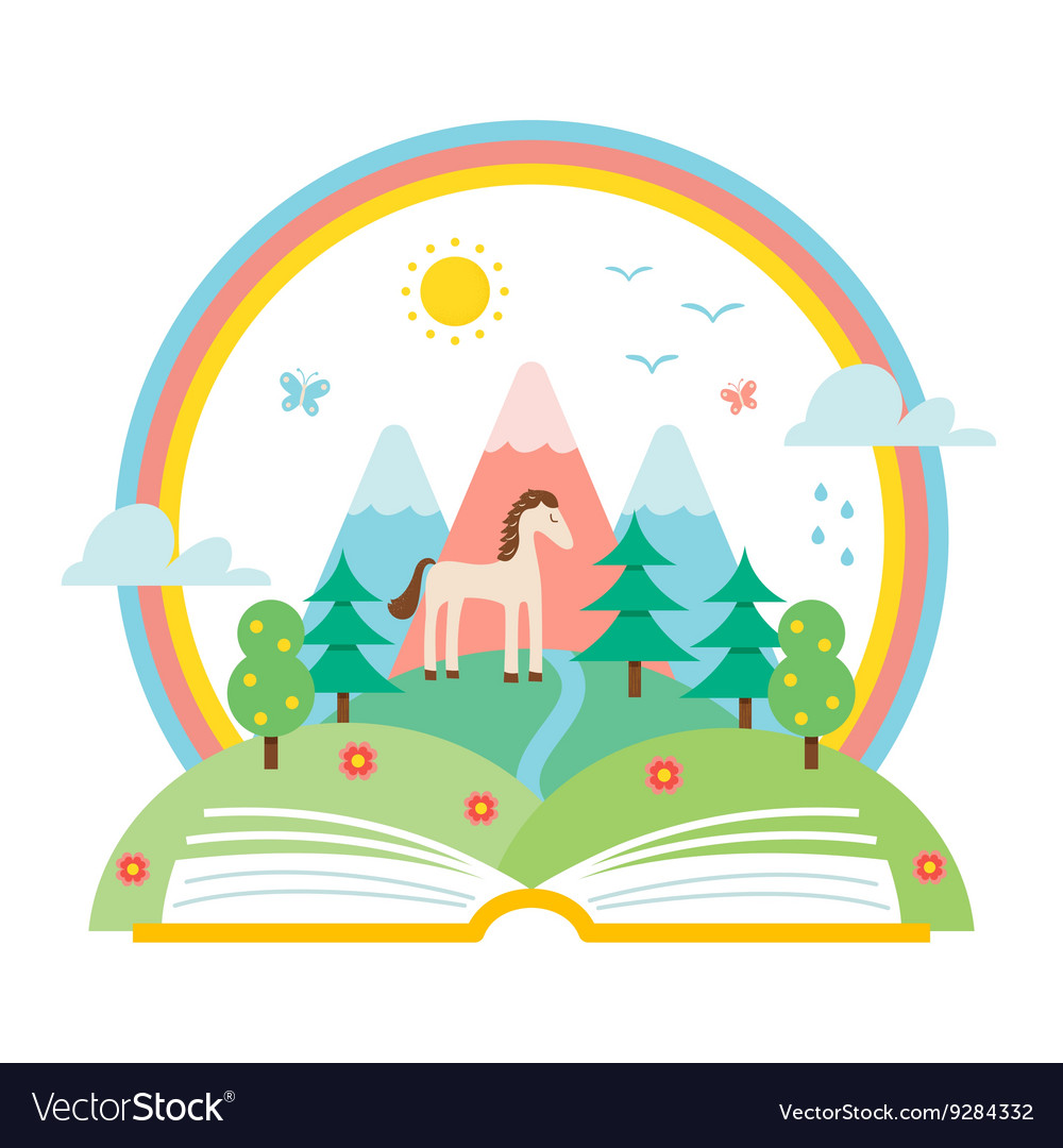 Open book and nature landscape vector