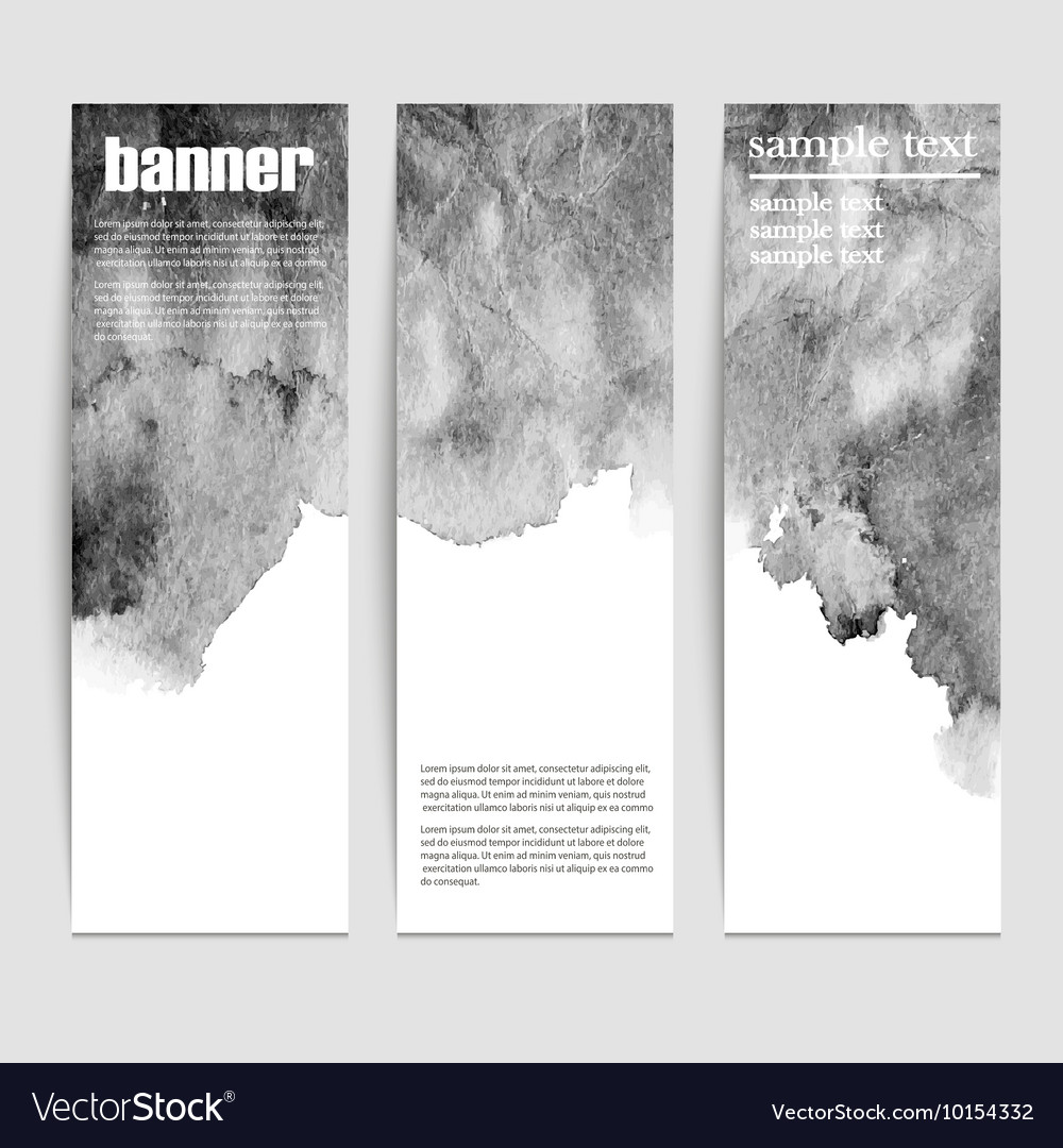 Set of three banners abstract headers with black vector