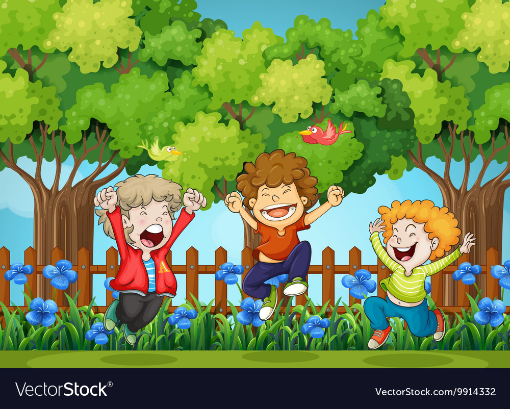 Three boys jumping in the park vector