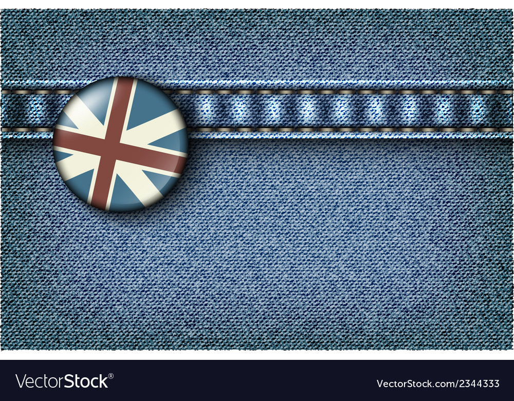 Badge with the uk flag on the jeans vector