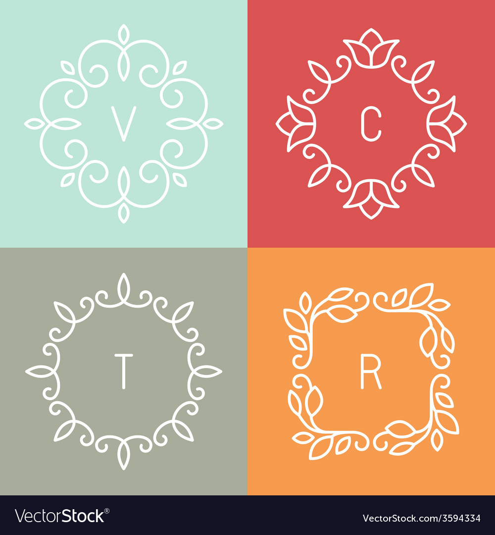 Floral outline frames vector