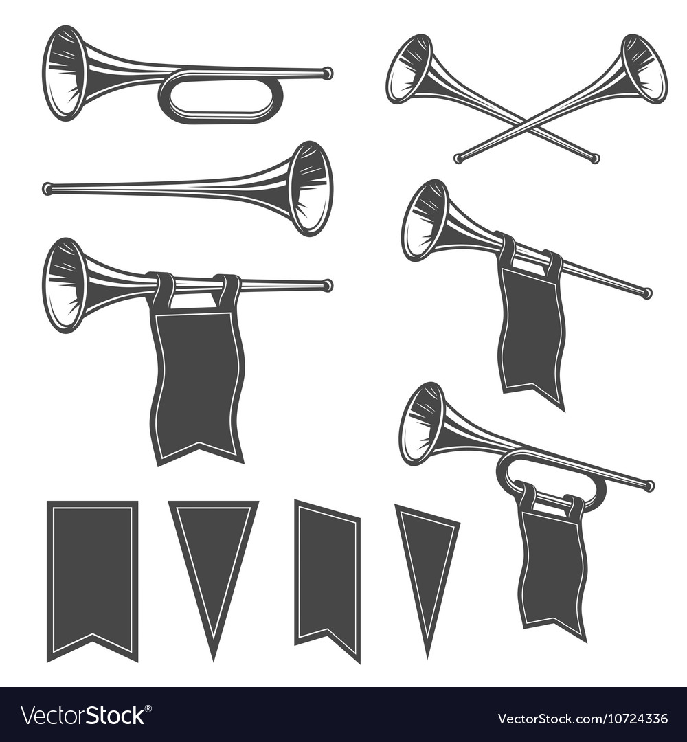 Set of mobochrome fanfare vector