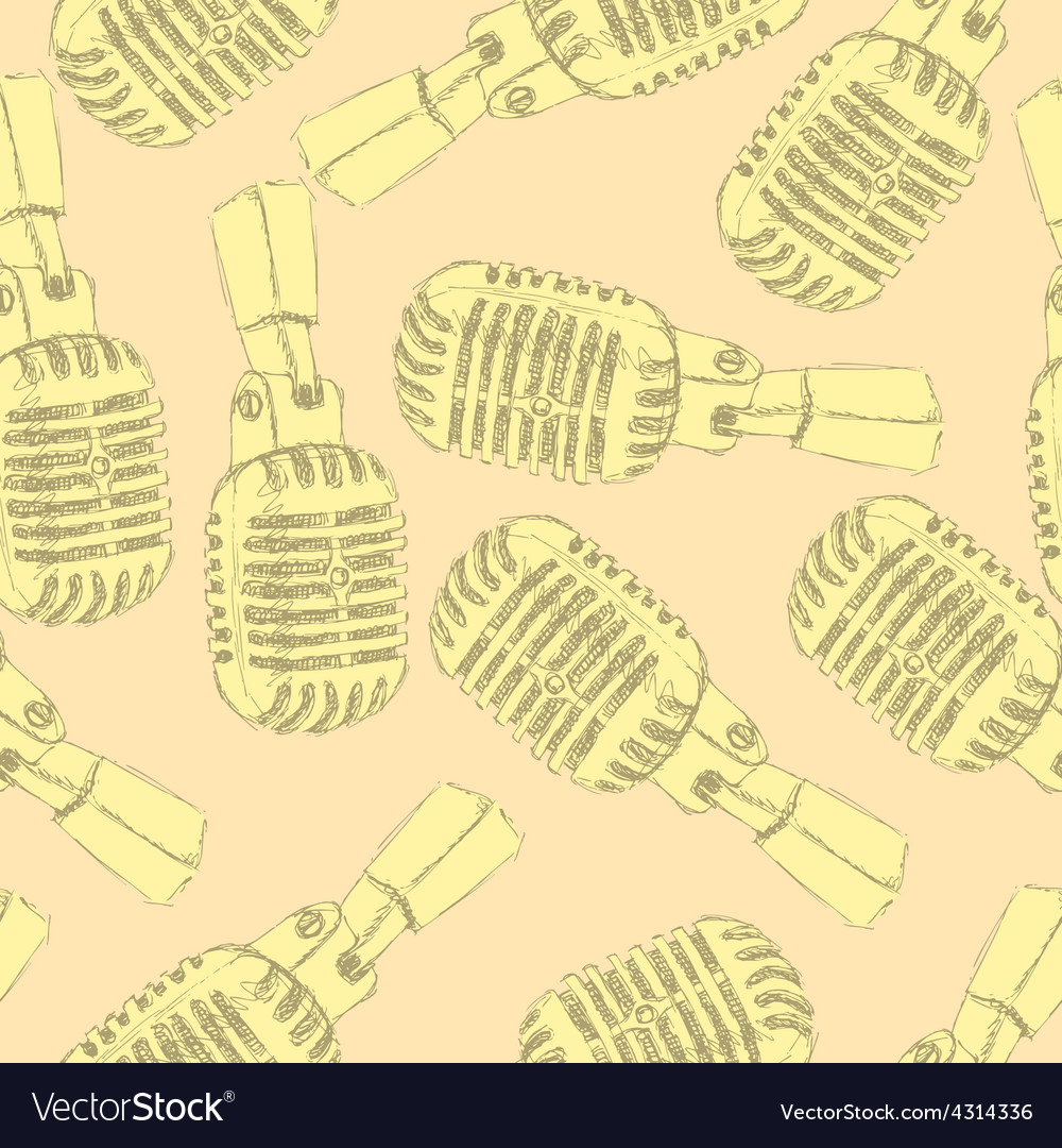 Sketch old microphone in vintage style vector