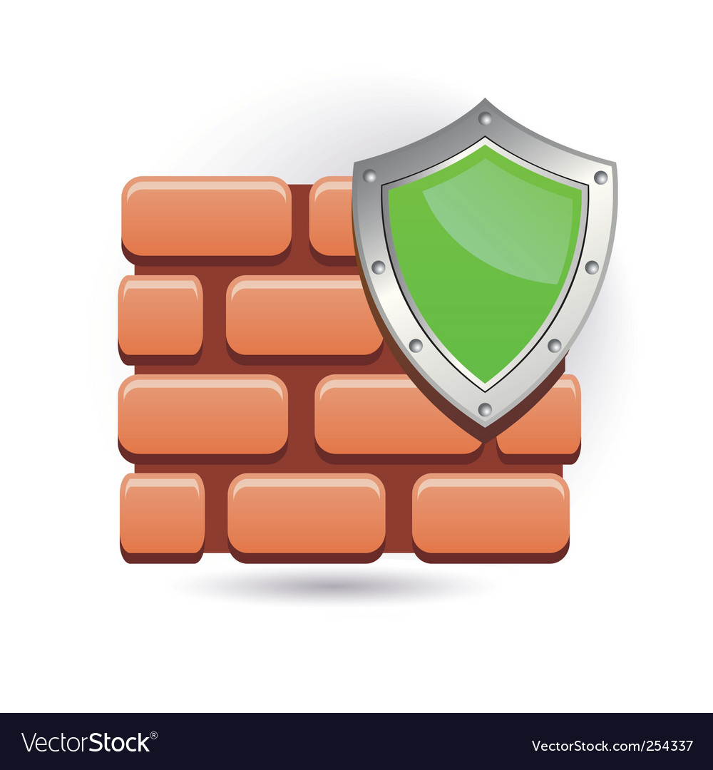 Wall and shield vector