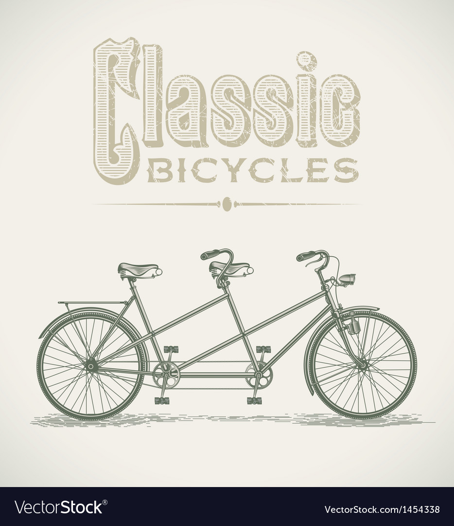 Classic tandem bicycle vector