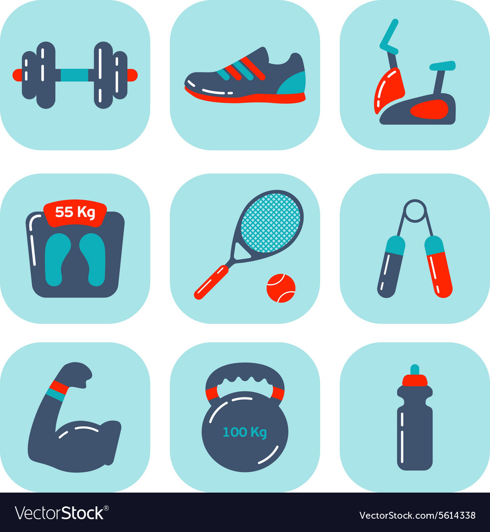 Fitness icons flat 2 vector