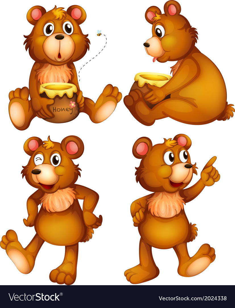 Four brown bears vector