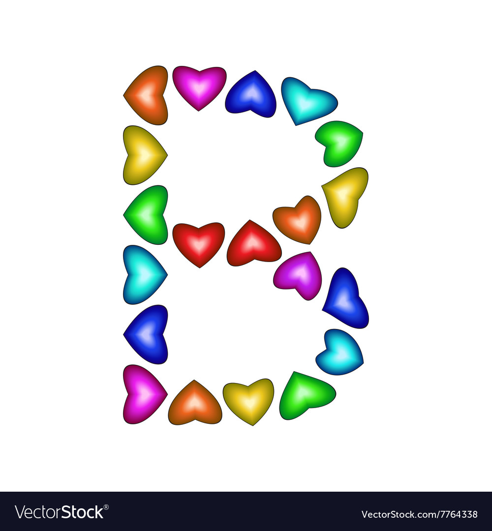 Letter b made of multicolored hearts vector