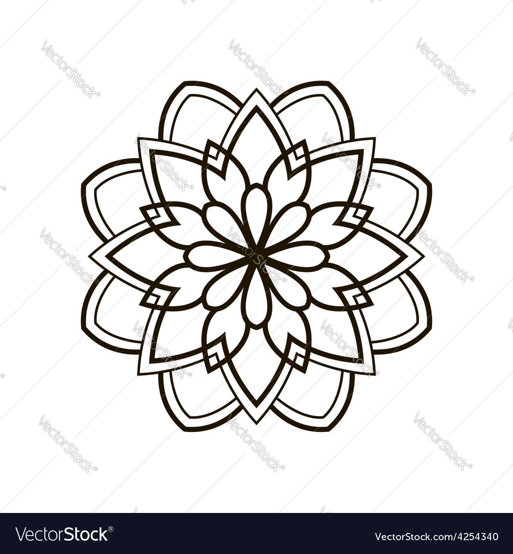 Black round floral pattern vector