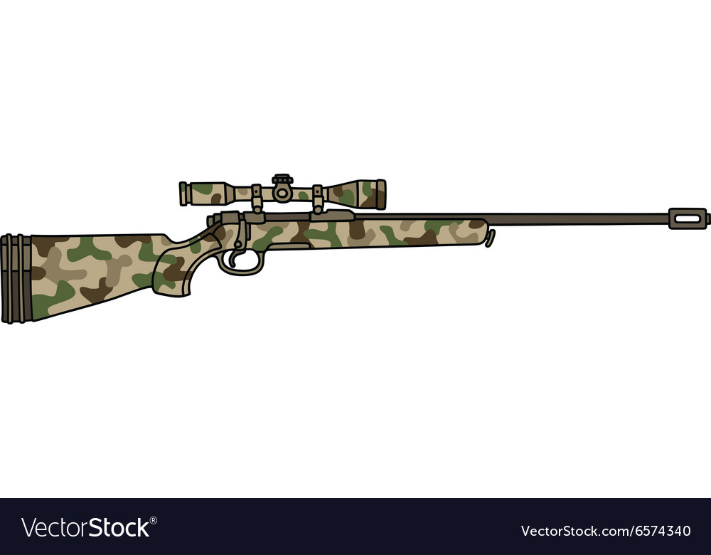 Camouflage rifle with a telescope vector