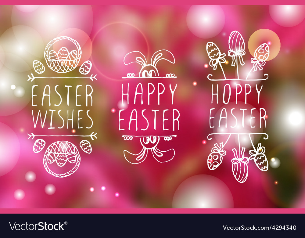 Handsketched easter typographic elements vector
