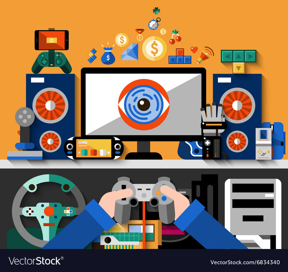Video game concept vector